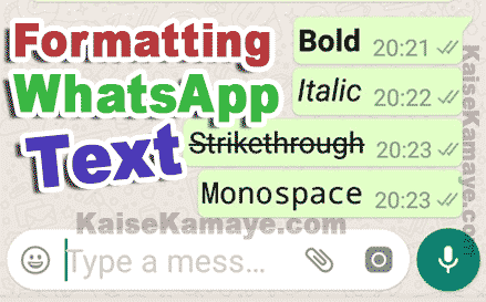 WhatsApp Message Me Bold, Italic, Strikethrough Text Kaise Likhe in Hindi, How to Use Bold, Italic and Strikethrough Text on WhatsApp in Hindi